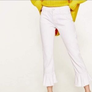 ZARA Z1975 White Denim Ruffled Cropped Jeans 4